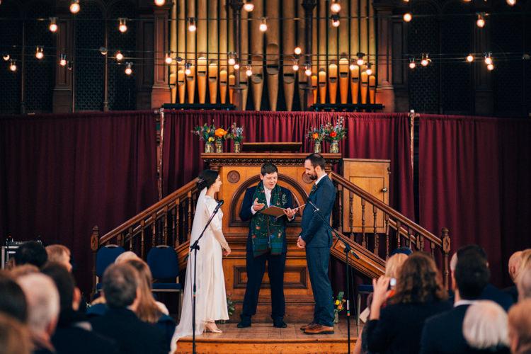 Bride Bridal Dress Gown Vintage Silk 1940s Reiss Groom Blue Ceremony Round Chapel London Wedding Nikki van der Molen Photography
