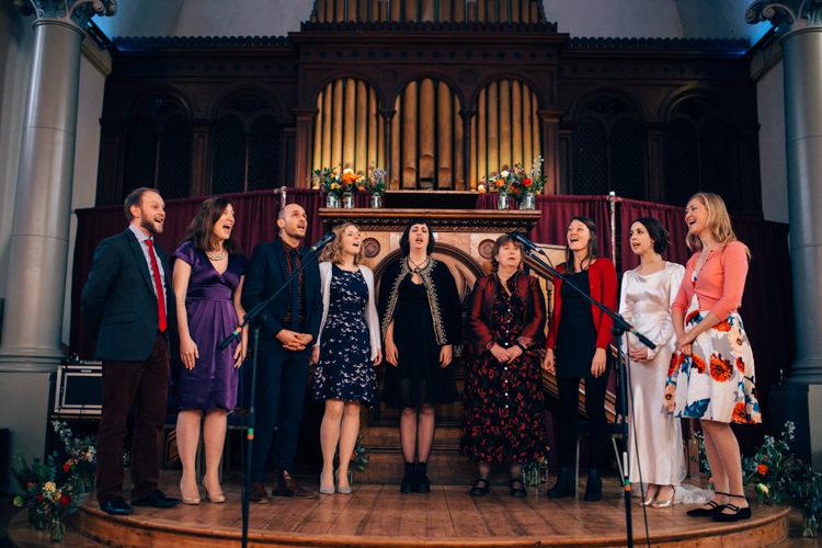 Ceremony Choir Bride Round Chapel London Wedding Nikki van der Molen Photography