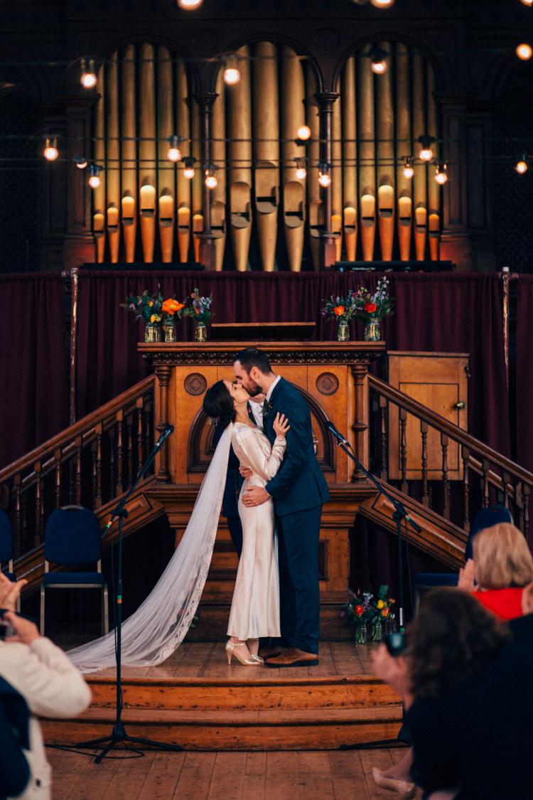 Bride Bridal Dress Gown Vintage Silk 1940s Reiss Groom Blue Festoon Lighting Round Chapel London Wedding Nikki van der Molen Photography