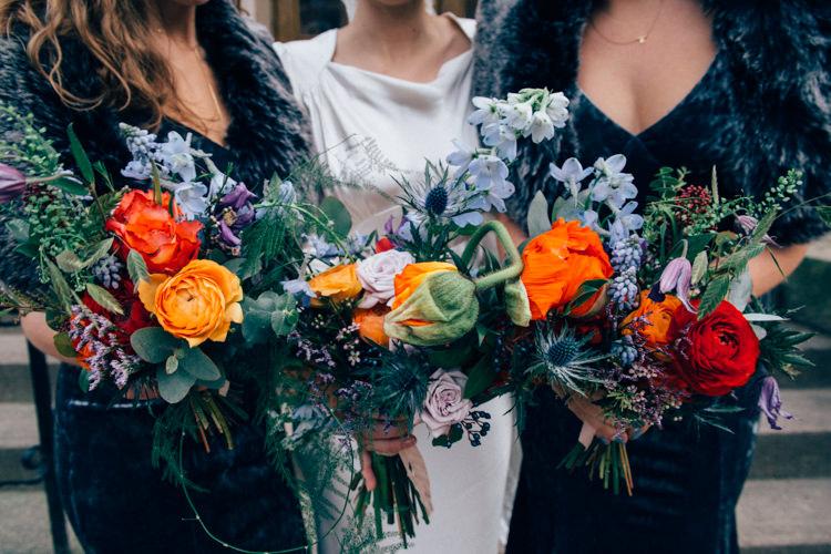 Bride Bridal Bridesmaids Multicoloured Bouquet Colourful Rose Thistle Round Chapel London Wedding Nikki van der Molen Photography