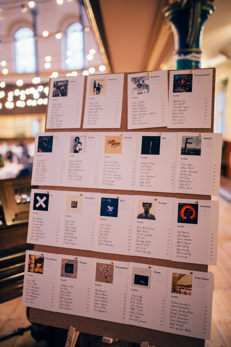 Table Plan Seating Chart Albums Records Round Chapel London Wedding Nikki van der Molen Photography
