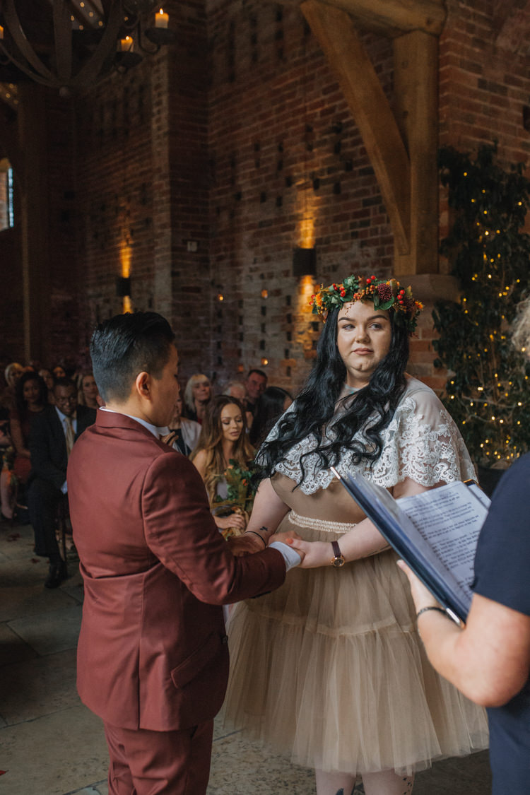 Bride Bridal Separates Lace Shawl Tulle Skirt Burgundy Suit Bow Tie Autumn Flower Crown Red Orange Shustoke Farm Barns Wedding Ellie Grace Photography