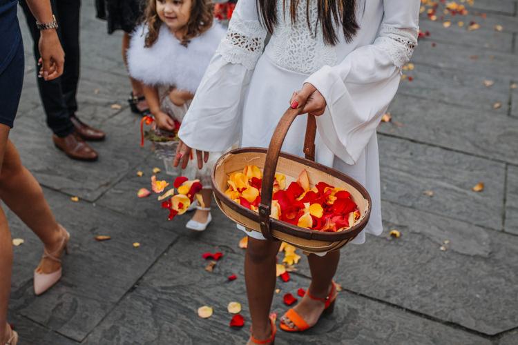 Flower Girls Red Orange Petals White Dresses Shustoke Farm Barns Wedding Ellie Grace Photography