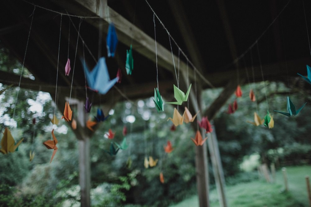 Origami Cranes The Green Cornwall Wedding Ben Selway Photography