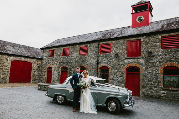 Vintage Classic Car Transport Larchfield Estate Wedding Honey and the Moon Photography