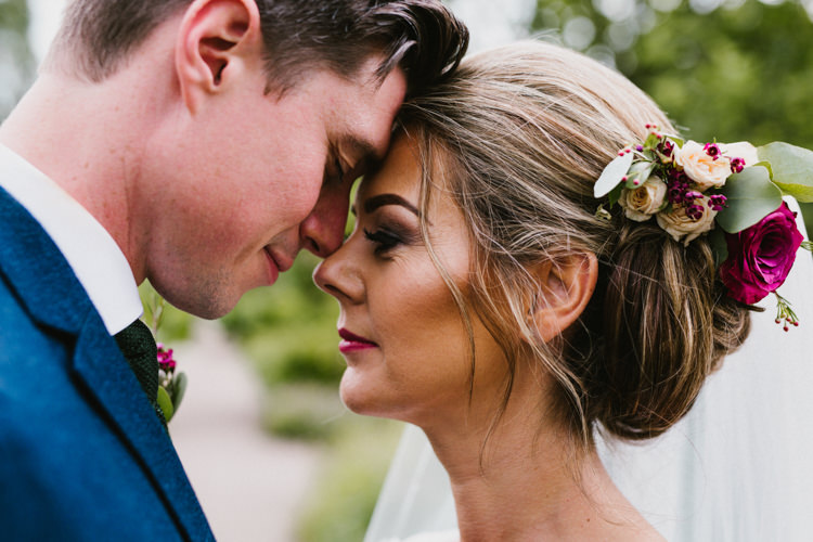 Hair Bride Bridal Up Do Style Flowers Veil Larchfield Estate Wedding Honey and the Moon Photography