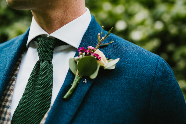 Buttonhole Flowers Groom White Pink Larchfield Estate Wedding Honey and the Moon Photography