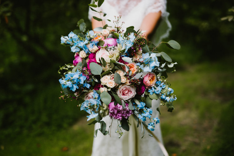 Flowers Bouquet Pink Blue Delphiniums Rose Eucalyptus Bride Bridal Peony Larchfield Estate Wedding Honey and the Moon Photography