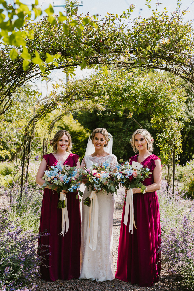 Long Red Bridesmaid Dresses Flowers Bouquets Ribbons Larchfield Estate Wedding Honey and the Moon Photography