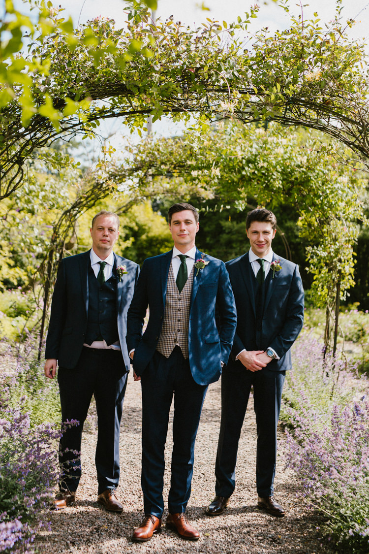 Groom Groomsmen Suits Blue Green Ties Larchfield Estate Wedding Honey and the Moon Photography