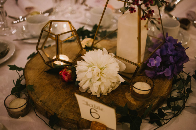 Terrarium Candles Flowers Decor Log Centrepiece Larchfield Estate Wedding Honey and the Moon Photography