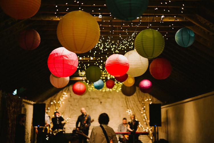 Lanterns Fairy Lights Decor Barn Larchfield Estate Wedding Honey and the Moon Photography