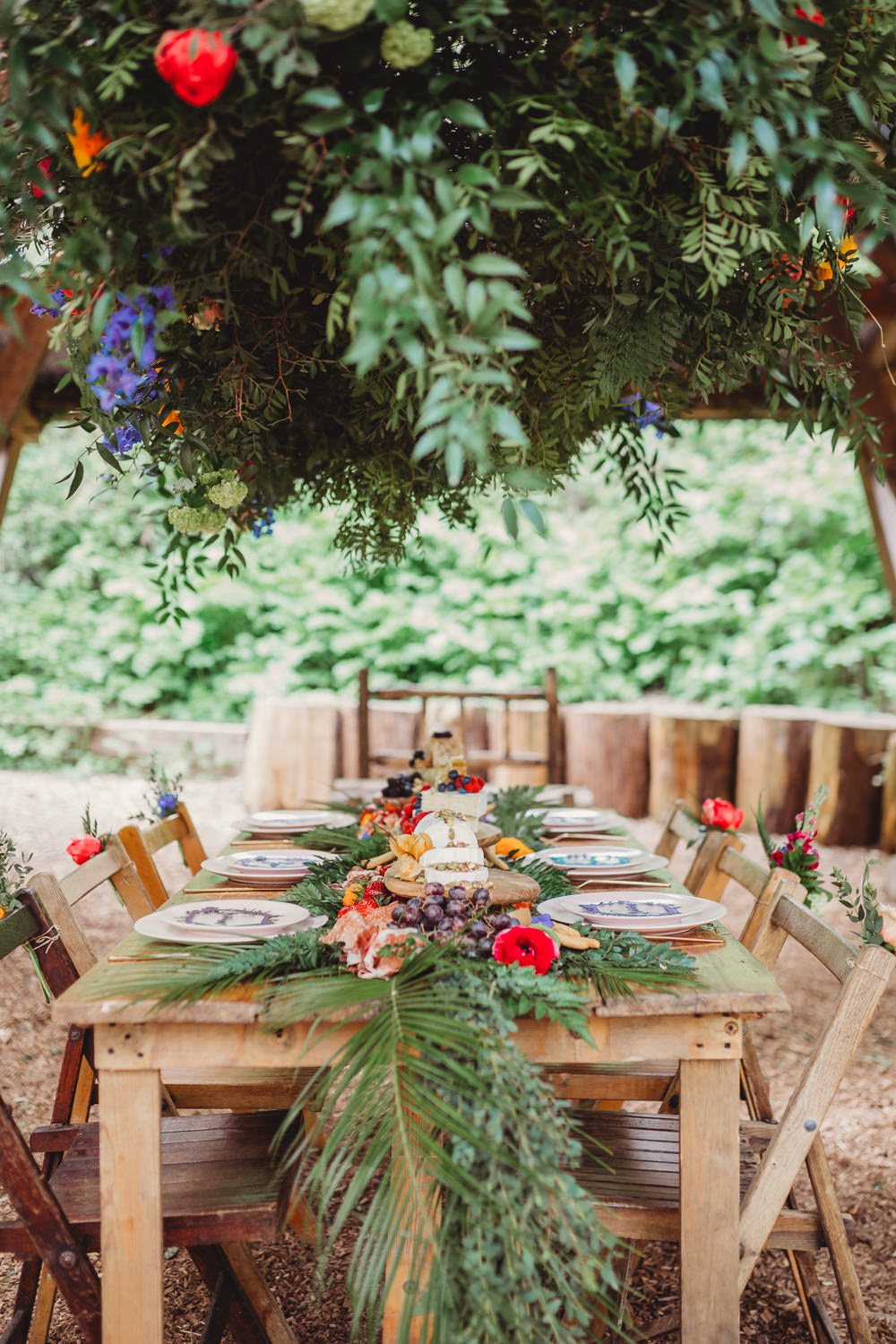 Table Flowers Garland Swag Runner Greenery Palm Leaves Tropical Colourful Arnos Vale Weddings Ideas When Charlie Met Hannah Photography