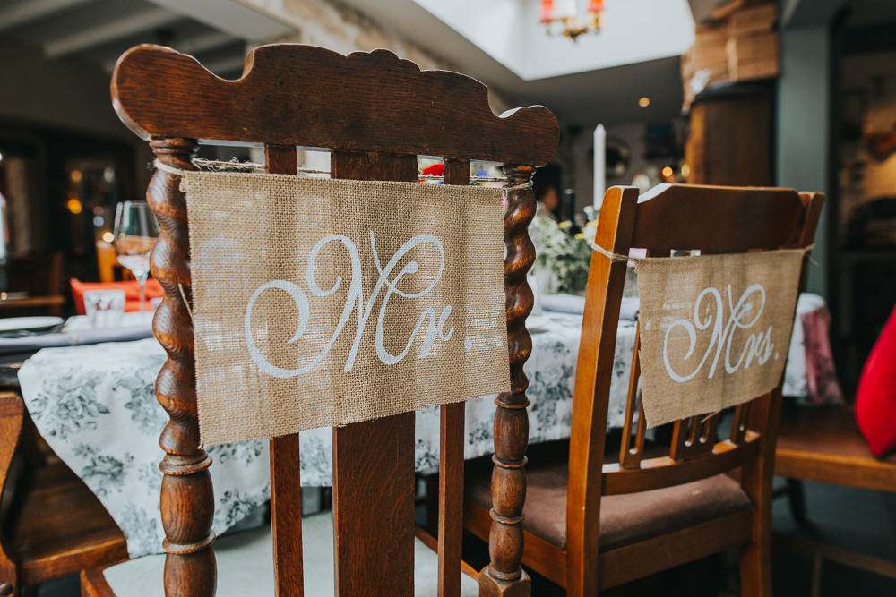 Hessian Burlap Mr Mrs Chair Banner Sign Colourful Bright Summer Pub Wedding Charlotte Razzell Photography
