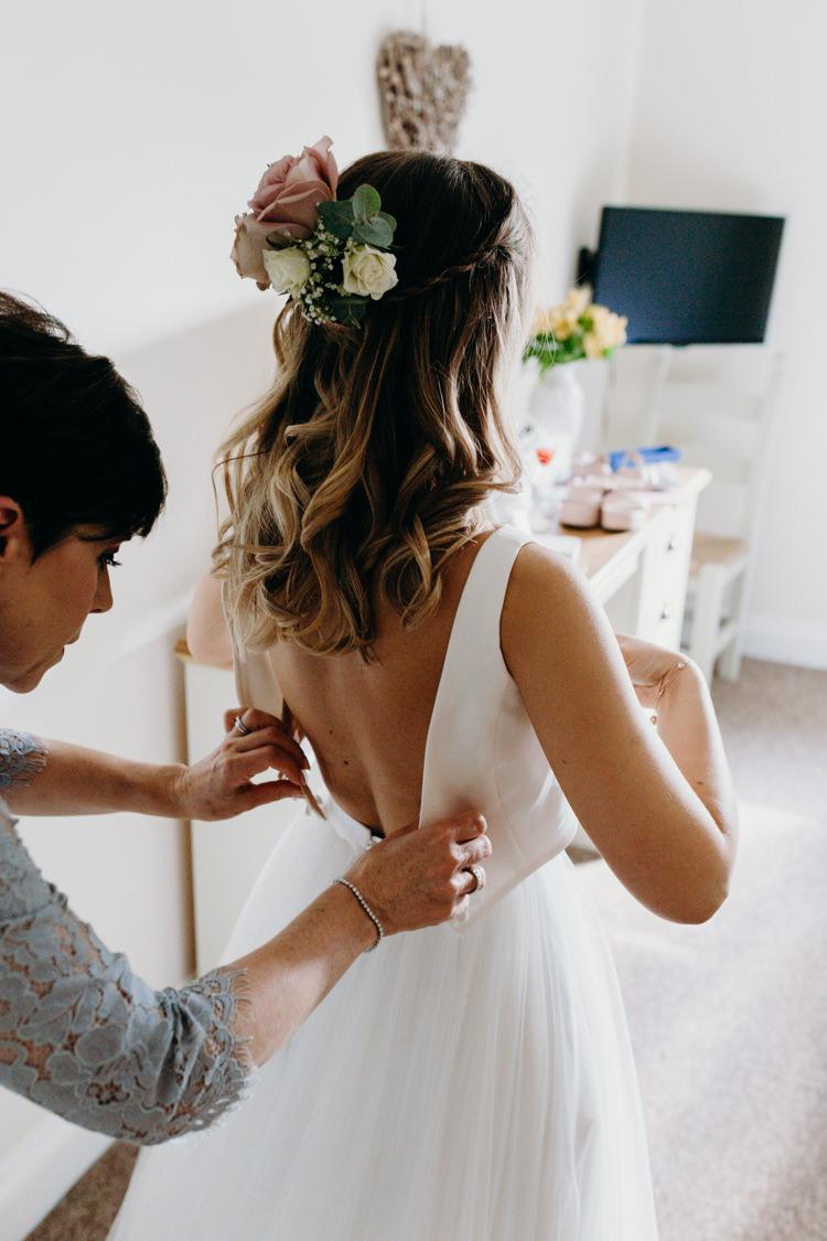 Hair Bride Bridal Waves Flowers Top Skirt Tulle Creative Hertfordshire Barn Boho DIY Wedding Beard and Mane Photography