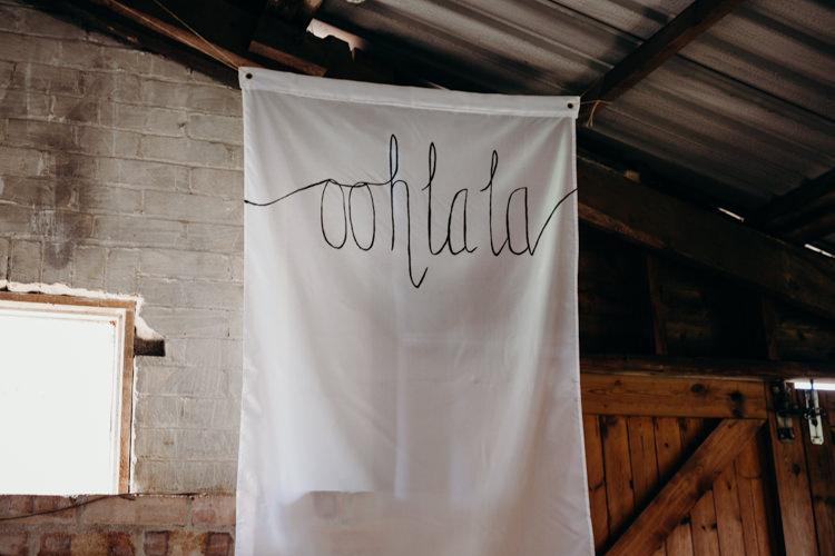 Fabric Banner Backdrop Ohh La La Creative Hertfordshire Barn Boho DIY Wedding Beard and Mane Photography