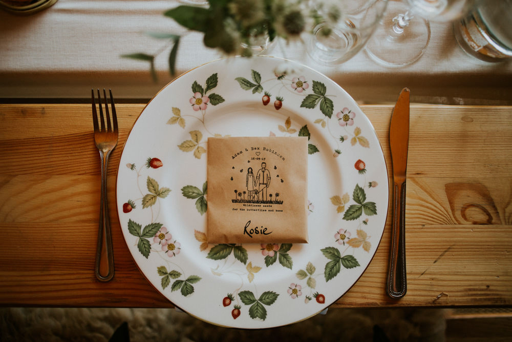 Place Setting Vintage China Wildflower Seed Favours Devon Garden Wedding Tipi Freckle Photography