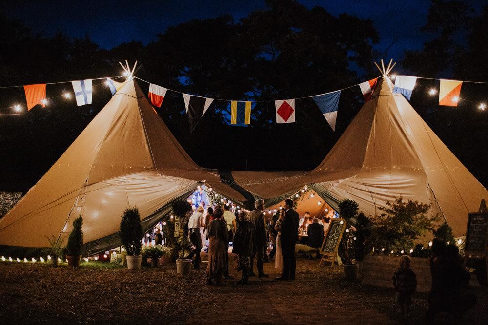 Lights Flag Bunting Devon Garden Wedding Tipi Freckle Photography