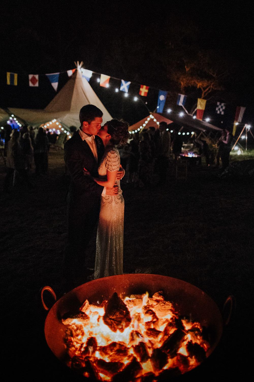 Fire Pit Devon Garden Wedding Tipi Freckle Photography