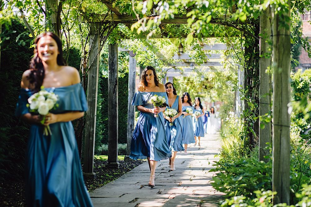 Cornflower Blue Bridesmaid Dresses Silk Great Fosters Wedding Roo Stain Photography
