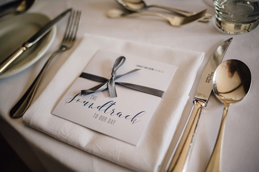 CD Favours Ribbon Place Setting Great Fosters Wedding Roo Stain Photography