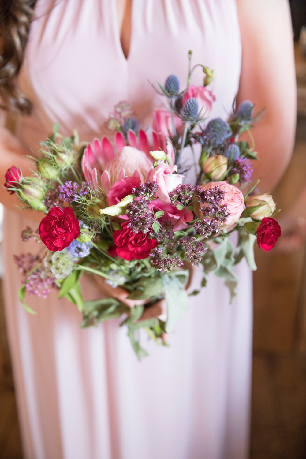 Flowers Bouquet Bridesmaid Red Pink Protea Thistle Rose House Meadow Wedding Kerry Ann Duffy Photography