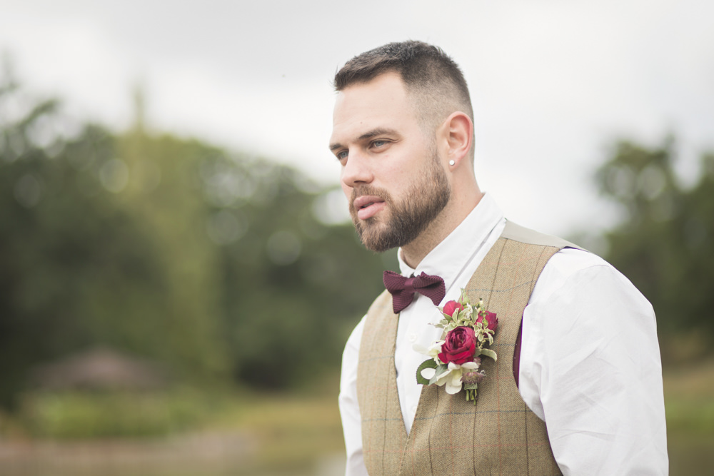 Groom Tweed Waistcoat Red Bow Tie Brown Check Country Suit House Meadow Wedding Kerry Ann Duffy Photography