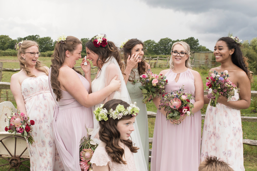 Pastel Pink Green Bridesmaid Dresses Floral House Meadow Wedding Kerry Ann Duffy Photography