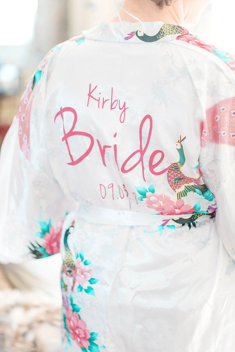 Bride Bridal Robe Personalised Dressing Gown Newton Hall Wedding Sarah-Jane Ethan Photography