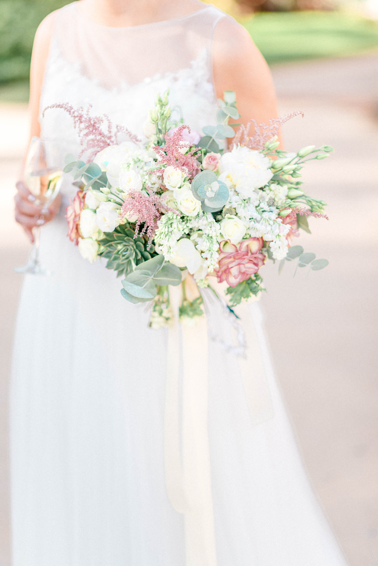 Bouquet Flowers Bride Bridal Pastel Astilbe Eucalyptus Peony Anemones Succulent Newton Hall Wedding Sarah-Jane Ethan Photography