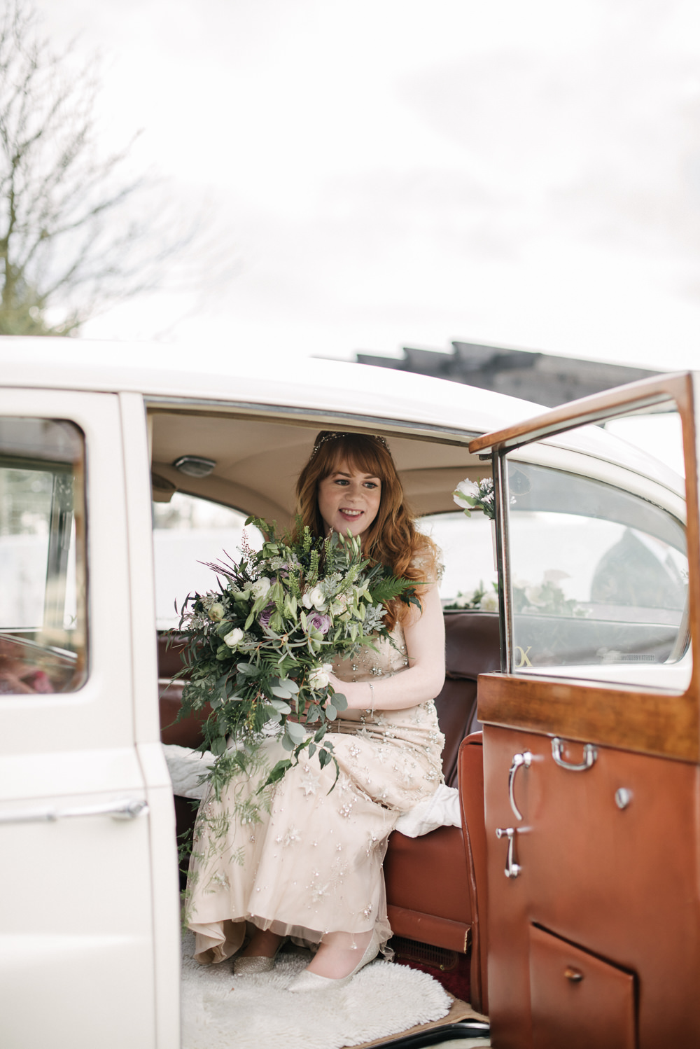 Bride Bridal Embellished Jenny Packham Foliage Tumbling Bouquet Transport Car Orange Tree House Wedding Winter You Them Us Photography
