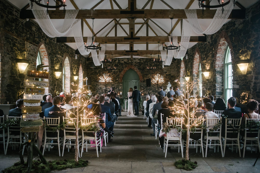 Ceremony Fairy Light Tree Aisle Orange Tree House Wedding Winter You Them Us Photography