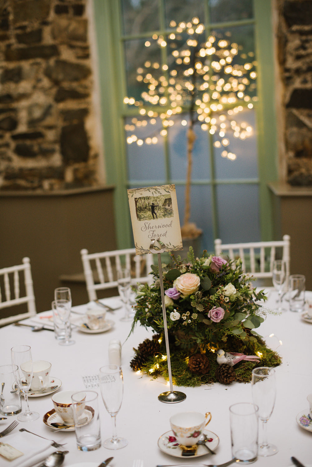 Table Centre Floral Rose Moss Fairy Lights Orange Tree House Wedding Winter You Them Us Photography