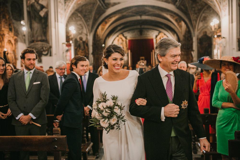 Outdoor Seville Destination Baroque Church Aisle Ceremony Bride Father | Colorful and Heartfelt Wedding in Spain Boda&Films