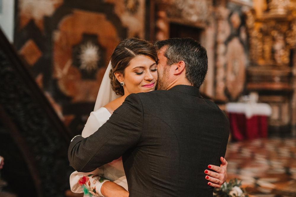 Outdoor Seville Destination Baroque Church Aisle Ceremony Bride Groom | Colorful and Heartfelt Wedding in Spain Boda&Films