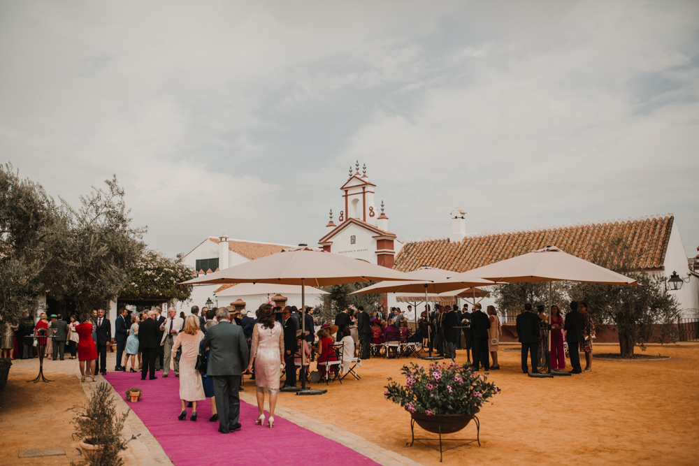 Outdoor Seville Destination Drinks Reception Villa Hacienda | Colorful and Heartfelt Wedding in Spain Boda&Films
