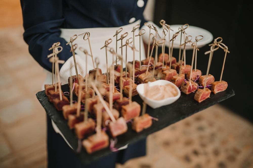 Outdoor Seville Destination Drinks Reception Canapes Tapas Villa Hacienda | Colorful and Heartfelt Wedding in Spain Boda&Films