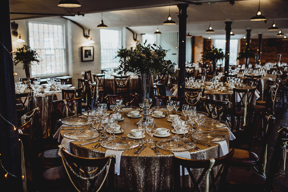 Sequin Tablecloths Tall Greenery Flowers Tables West Mill Wedding HBA Photography