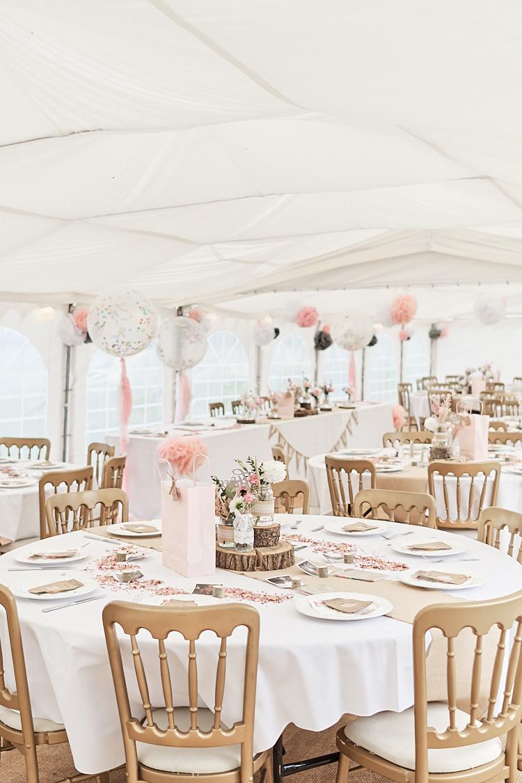 Marquee Pink White Blush Giant Confetti Balloons Tassel Wood Slice Hessian Runner Wood Farm Barn Wedding Suffolk Faye Amare Photography