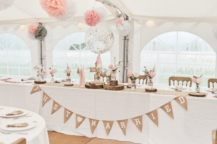 Top Table Hessian Just Married Bunting Wood Slice Tissue Paper Pom Pom Giant Confetti Balloons Wood Farm Barn Wedding Suffolk Faye Amare Photography