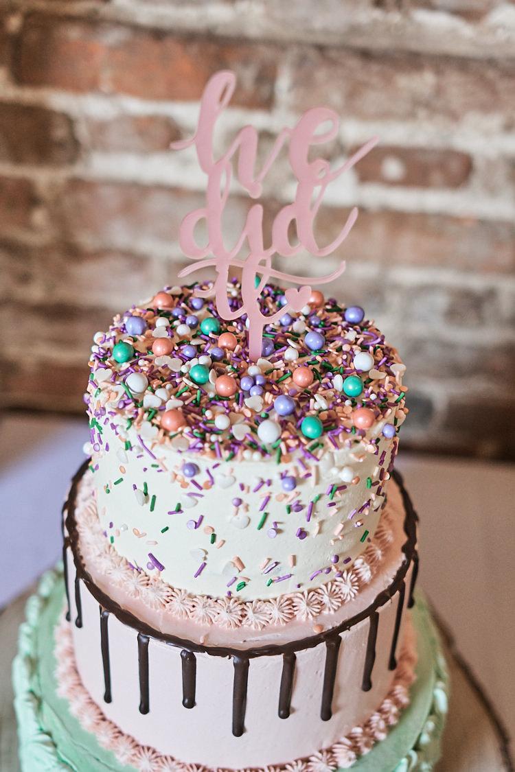 Tiered Cake Sprinkles Drip Buttercream Laser Cut Topper Wood Farm Barn Wedding Suffolk Faye Amare Photography