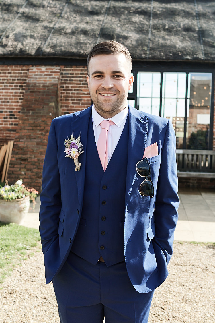 Groom Three Piece Blue Suit Waistcoat French Connection Pink Tie Pocket Square Hessian Buttonhole Wood Farm Barn Wedding Suffolk Faye Amare Photography