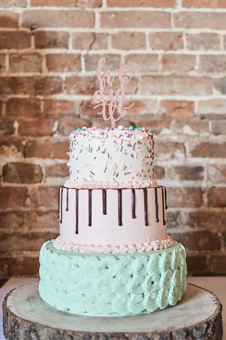 Tiered Cake Sprinkles Drip Buttercream Laser Cut Topper Pink Mint Green Wood Farm Barn Wedding Suffolk Faye Amare Photography