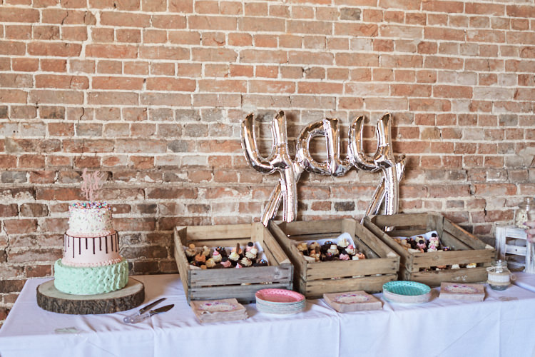 Brownies Dessert Table Wooden Vintage Crates Tiered Cake Wood Slice Stand Yay Metallic Balloons Wood Farm Barn Wedding Suffolk Faye Amare Photography