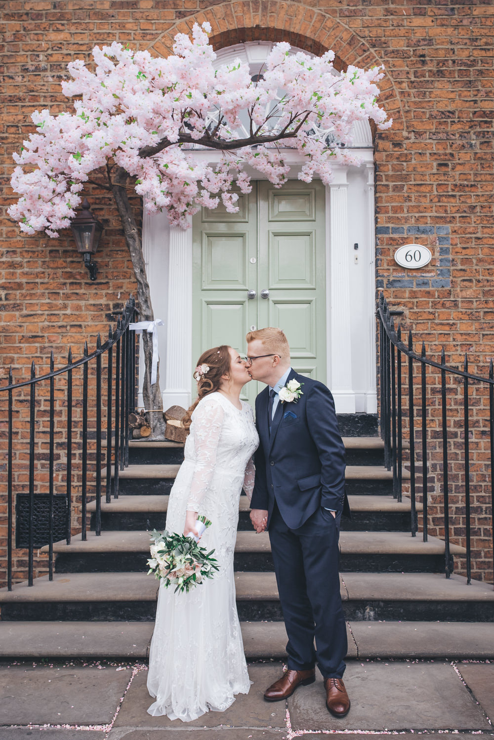 Bride Bridal Lace Long Sleeve Savannah Miller Dress Gown Navy Hugo Boss Groom Pink Rose Bouquet Blossom Tree 60 Hope Street Wedding Lisa Howard Photography