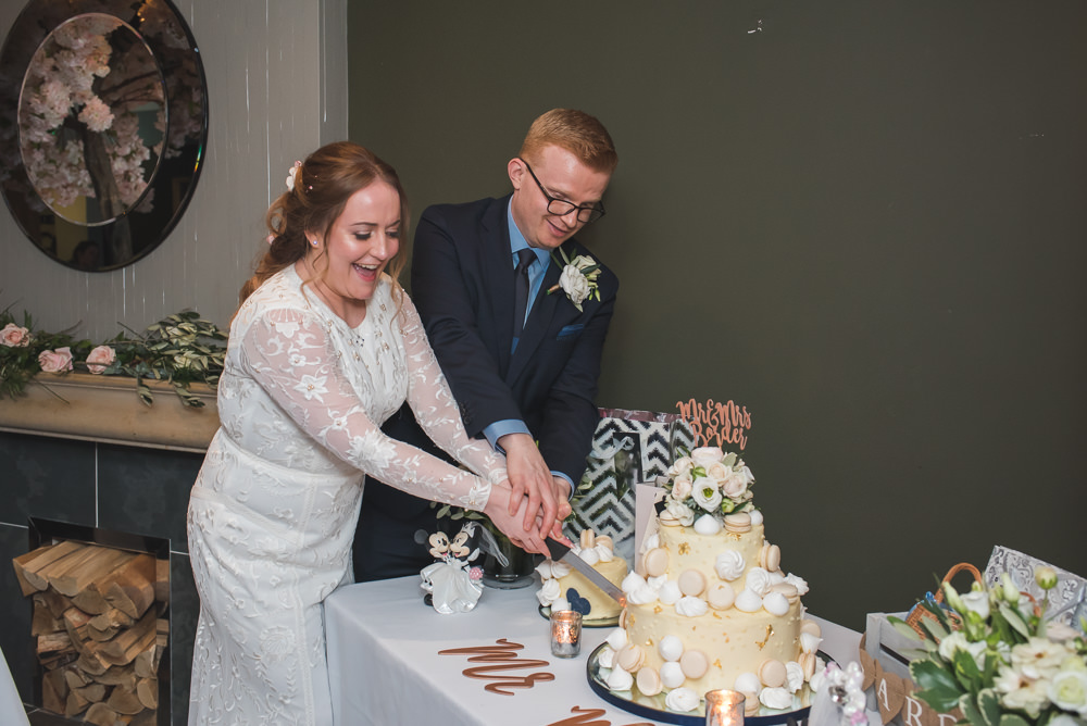 Bride Bridal Lace Long Sleeve Savannah Miller Dress Gown Navy Hugo Boss Groom Cutting Cake 60 Hope Street Wedding Lisa Howard Photography