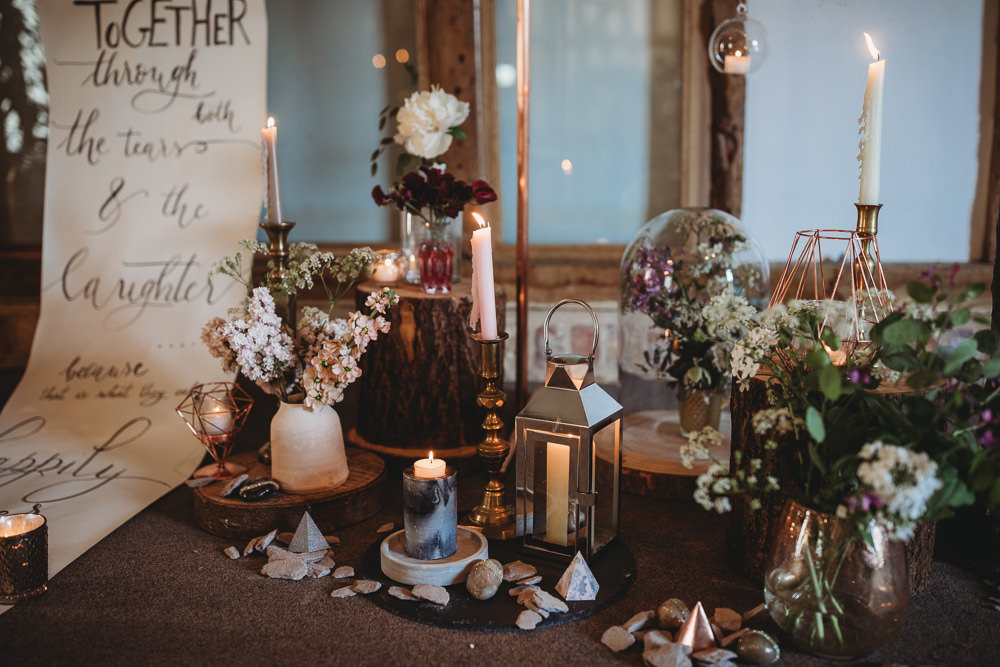 Table Tablescape Decor Fowers Silk Runner Candles Lanterns Paper Shapes Barn Wedding Ideas Thyme Lane Photography