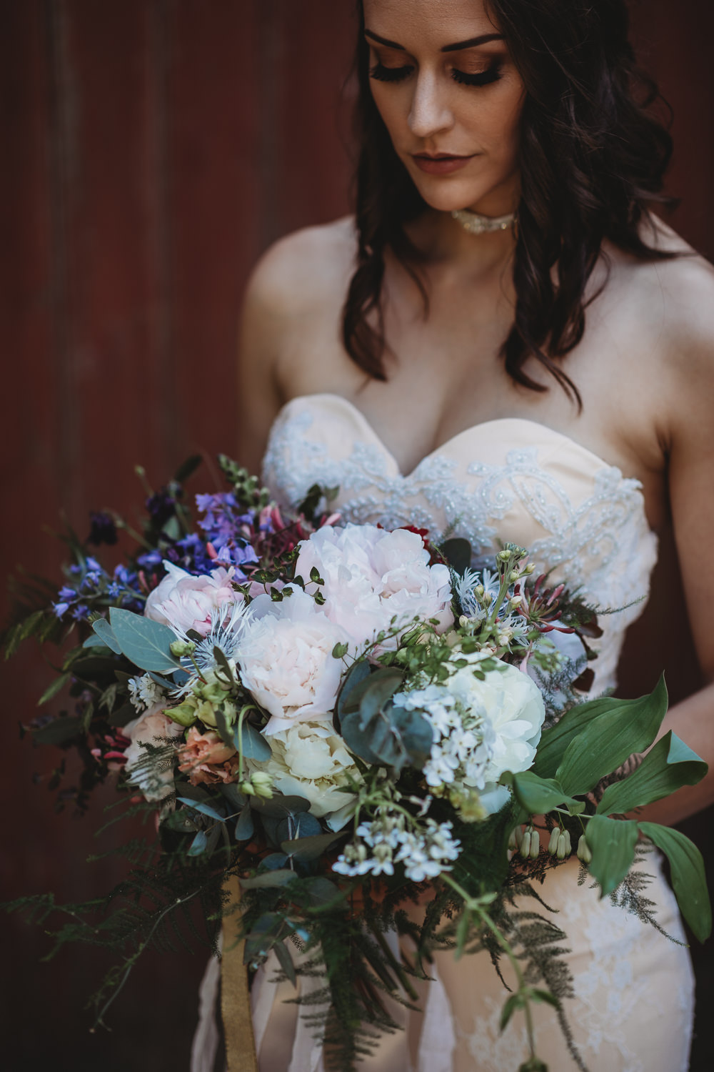 Bouquet Flowers Bride Bridal Ribbons Peony Foliage Greenery Barn Wedding Ideas Thyme Lane Photography