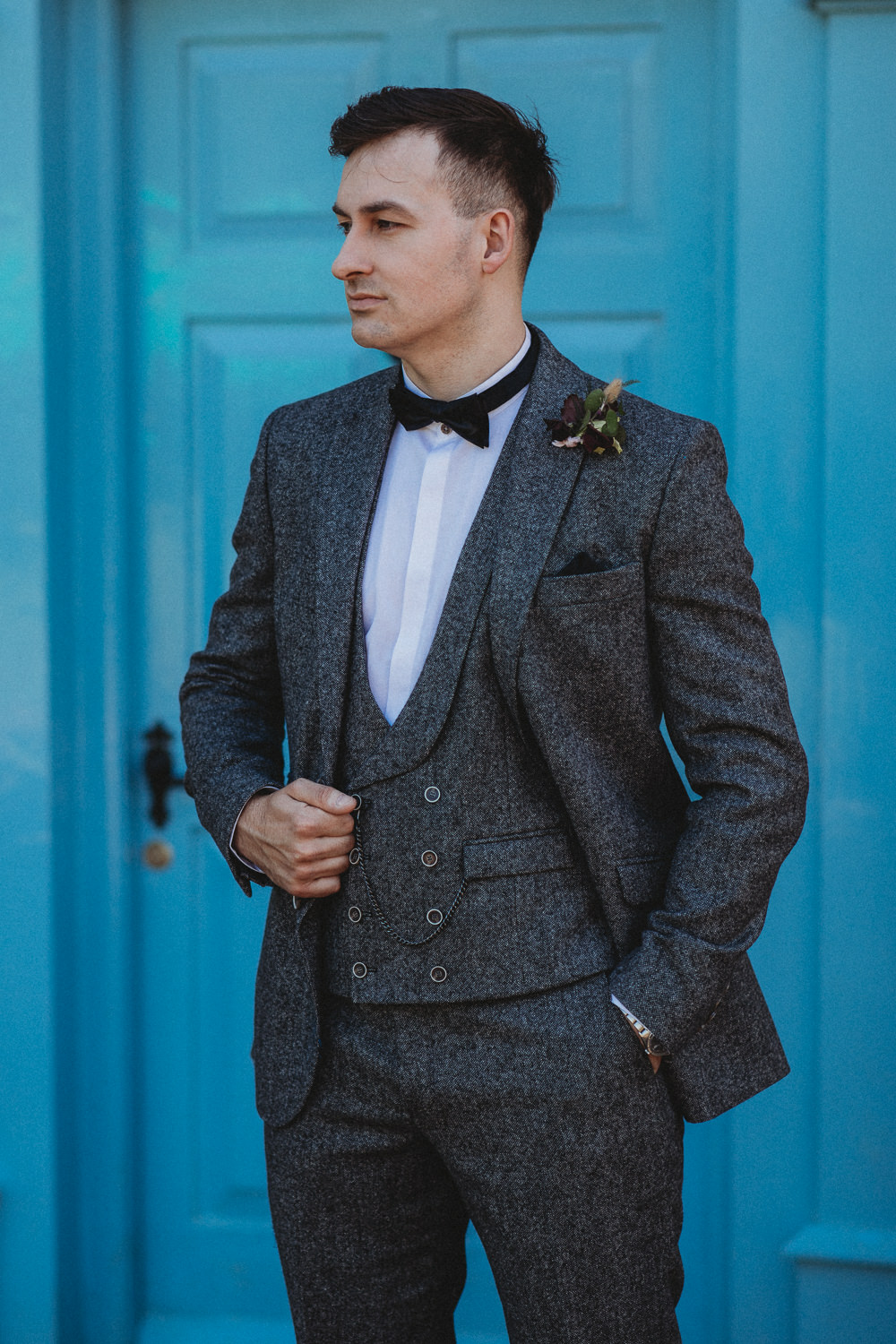 Groom Tweed Suit Bow Tie Waistcoat Barn Wedding Ideas Thyme Lane Photography