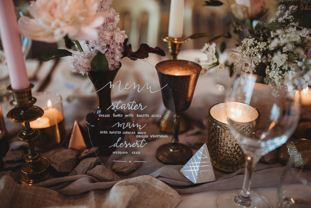 Perspex Acrylic Menu Stationery Calligraphy Barn Wedding Ideas Thyme Lane Photography